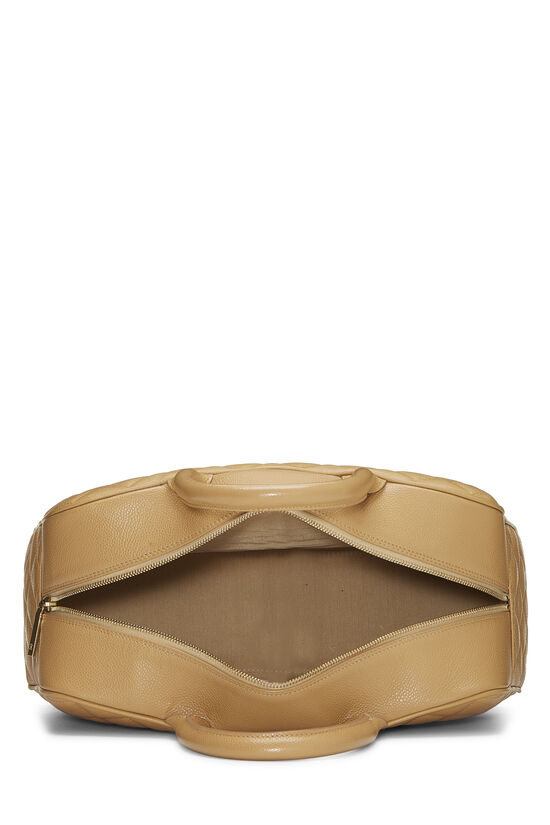 Beige Quilted Caviar Bowler Small, , large image number 5