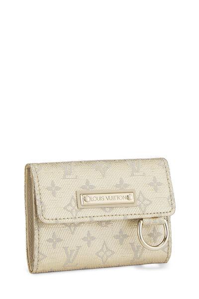 Gold Monogram Mini Lin Shine Arjang Card Holder, , large