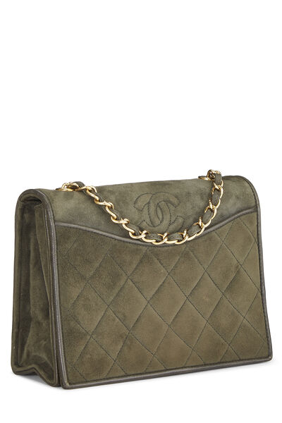 Olive Quilted Suede Full Flap Mini, , large