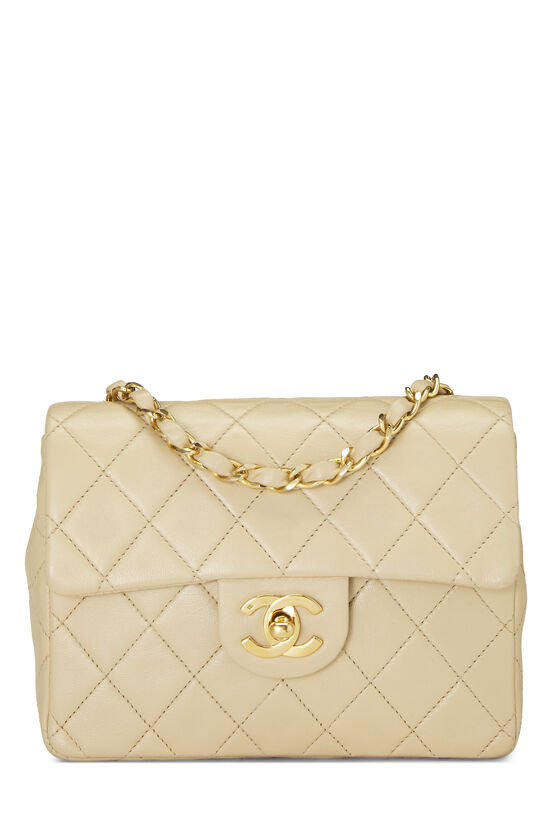 Beige Quilted Lambskin Half Flap Mini, , large image number 0