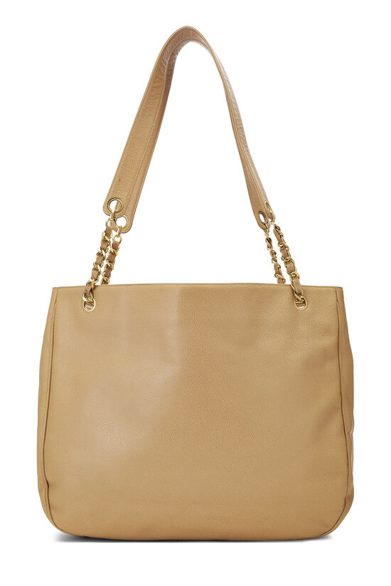Beige Caviar 'CC' Tote Large, , large image number 3