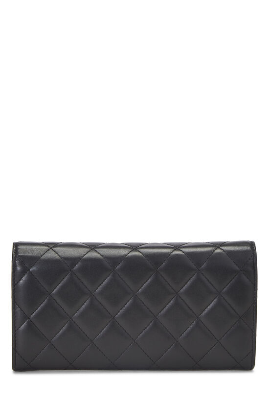 Black Quilted Lambskin Long Flap Wallet, , large image number 2