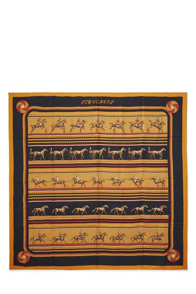 Orange & Multicolor 'Sequences' Silk Scarf 90