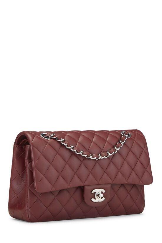 Burgundy Quilted Lambskin Classic Double Flap Medium, , large image number 1