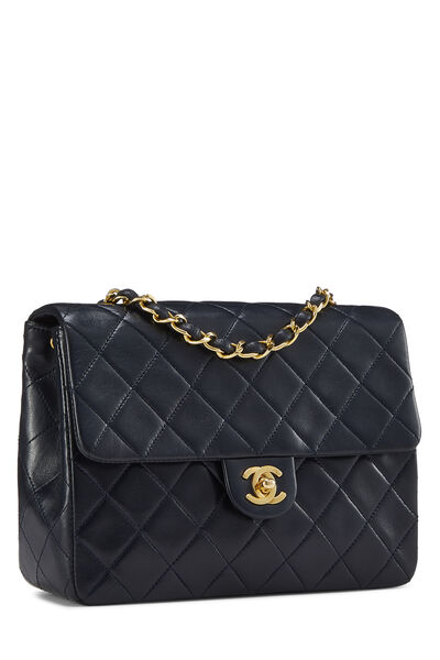 Navy Quilted Lambskin Half Flap Small, , large