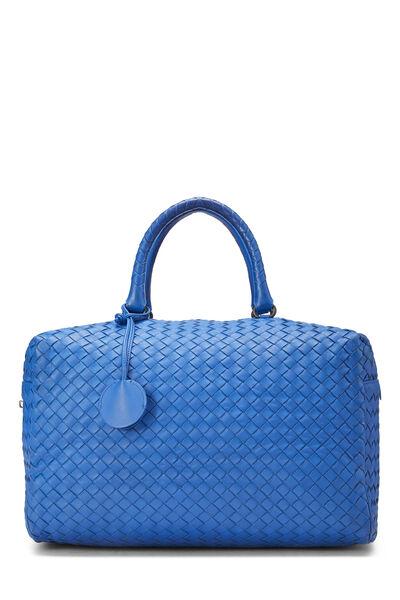 Blue Intrecciato Leather Boston