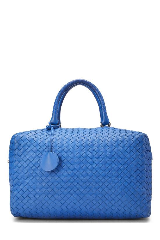 Blue Intrecciato Leather Boston, , large image number 0