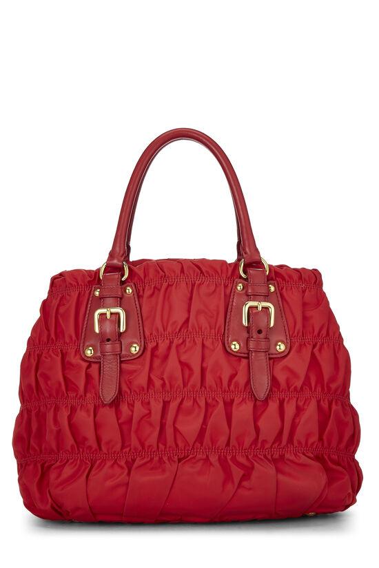 Red Nappa Gaufre Shoulder Bag, , large image number 3