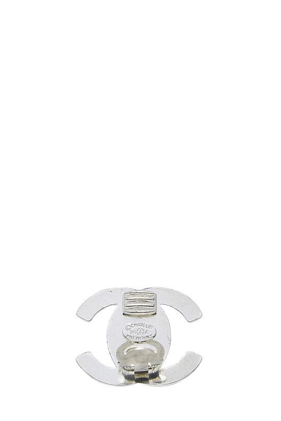 Silver & Crystal 'CC' Turnlock Earrings Medium, , large image number 2