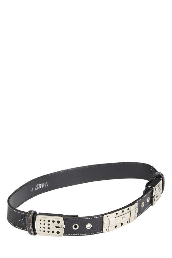 Black Leather Cutout Belt 40, , large image number 1