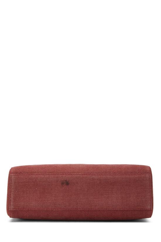 Red Quilted Canvas Shoulder Bag Large, , large image number 4