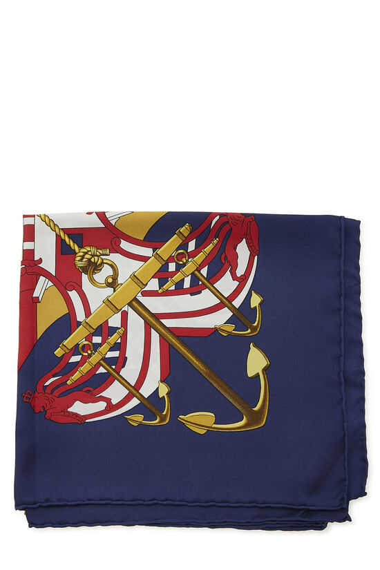 Navy & Multicolor 'Proues' Silk Scarf 90, , large image number 1