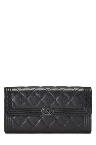 Black Quilted Caviar Boy Wallet