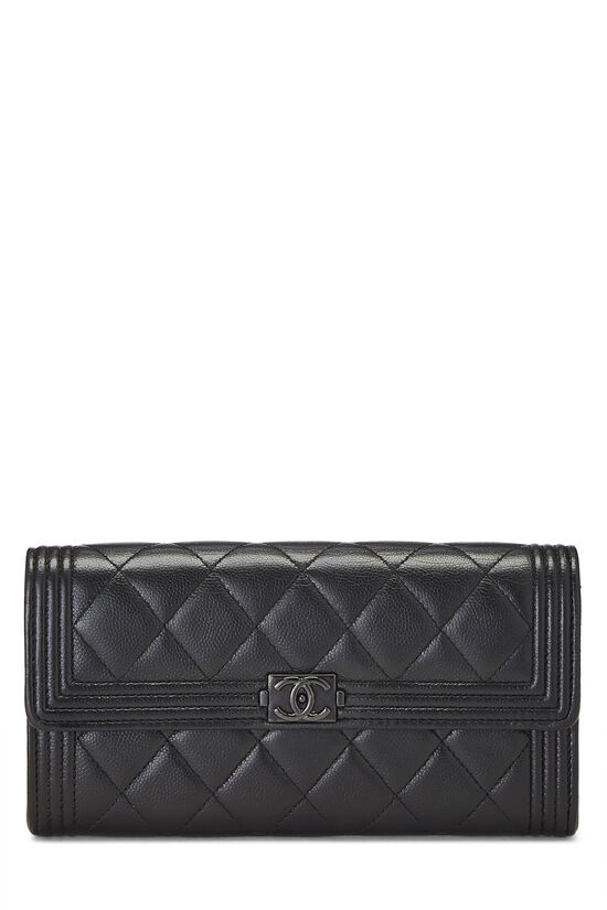 Black Quilted Caviar Boy Wallet, , large image number 0