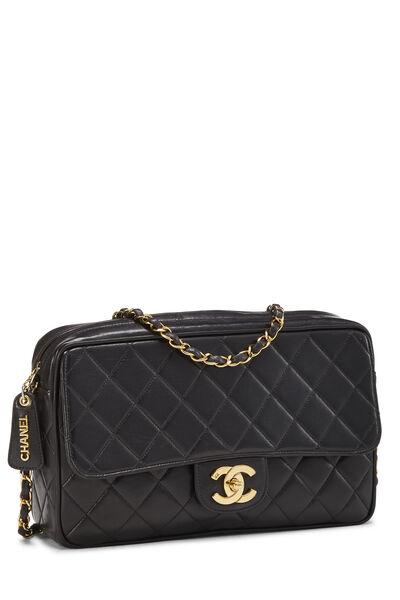 Black Quilted Lambskin Shoulder Bag Large, , large