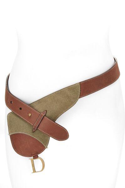 Brown Leather & Olive Canvas Saddle Belt Bag 90