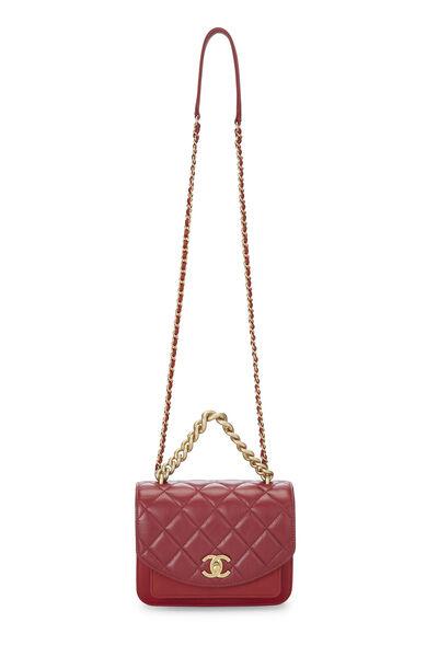 Red Calfskin Chain Handle Flap Mini, , large