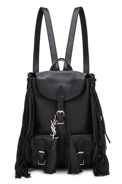 Black Calfskin Fringe Festival Backpack Small