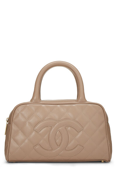 Beige Quilted Caviar Bowler Mini
