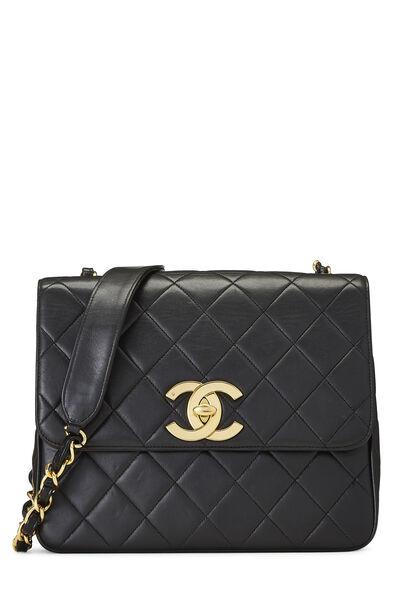 Black Quilted Lambskin 'CC' Square Shoulder Bag