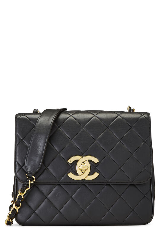 Black Quilted Lambskin 'CC' Square Shoulder Bag, , large image number 0