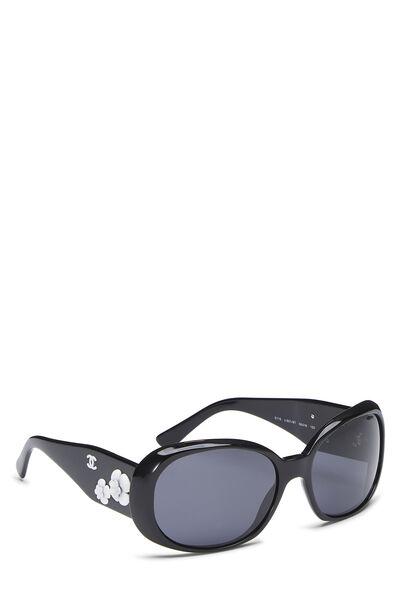 Black Acrylic Oversize Camellia Sunglasses, , large