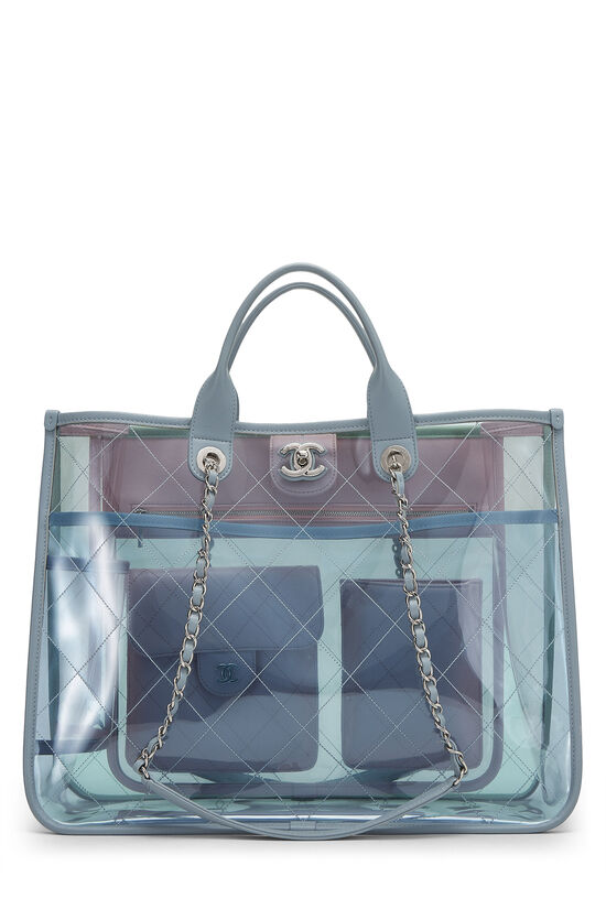Multicolor Quilted Vinyl Coco Splash Shopping Tote Medium, , large image number 0