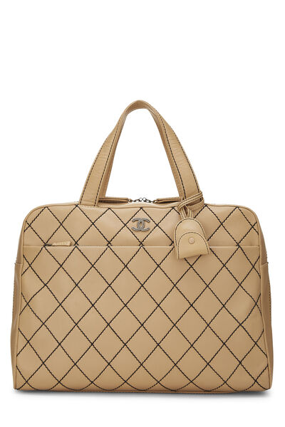 Beige Leather Wild Stitch Boston Bag