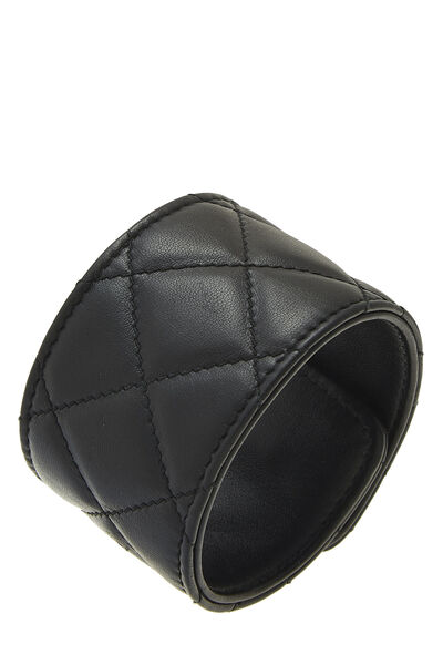 Black Quilted Leather Cuff, , large