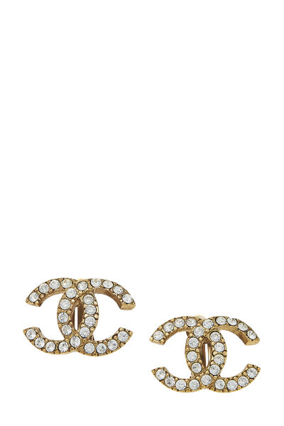 Gold & Crystal 'CC' Earrings Large