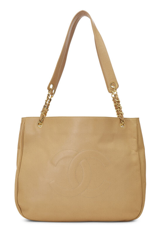 Beige Caviar 'CC' Tote Large, , large image number 0