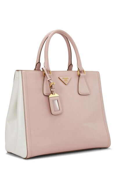 Pink & Ivory Saffiano Bicolor East West Tote, , large