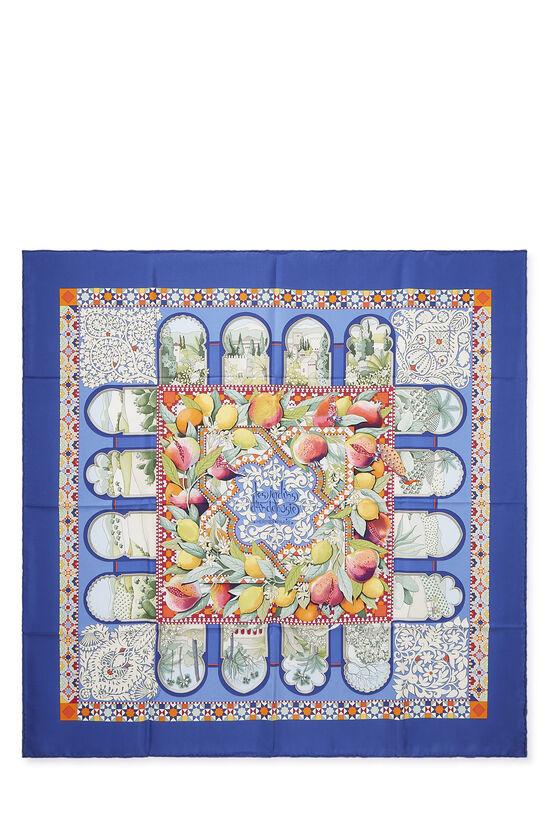 Blue & Multicolor 'Les Jardins d'Armenie' Silk Scarf 90, , large image number 0