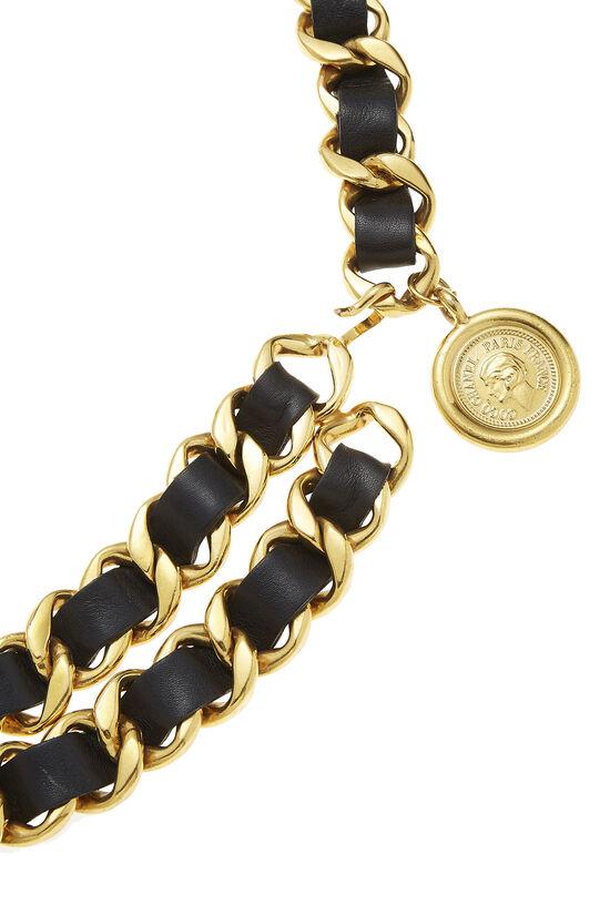 Gold & Black Leather Chain Belt 2, , large image number 1