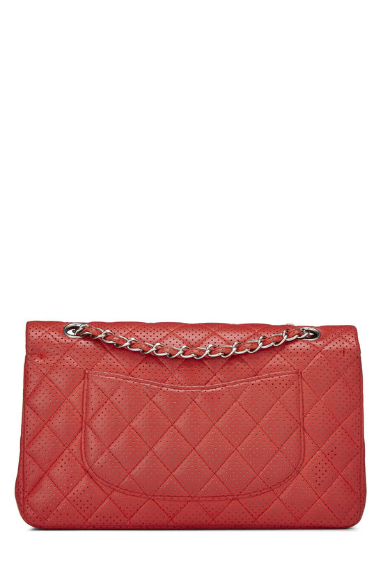 Red Perforated Lambskin Classic Double Flap Medium, , large image number 3