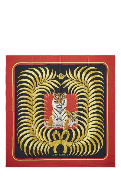 Red & Multicolor 'Le Tigre Royal' Silk Scarf 90