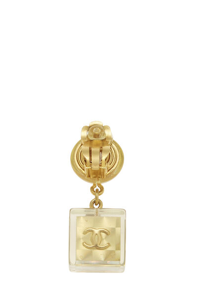 Gold Acrylic No. 5 Cube Earrings, , large