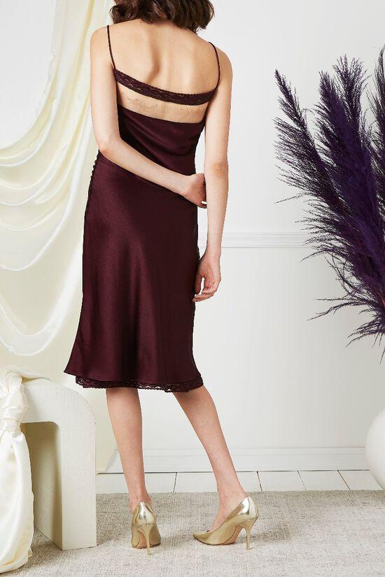Purple Drop Chest Satin Dress, , large image number 3