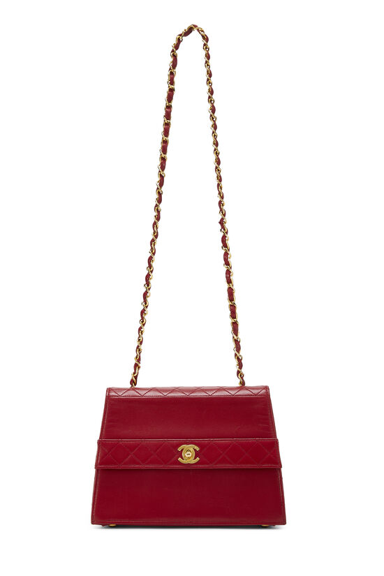 Red Quilted Lambskin Trapezoid Shoulder Bag, , large image number 6