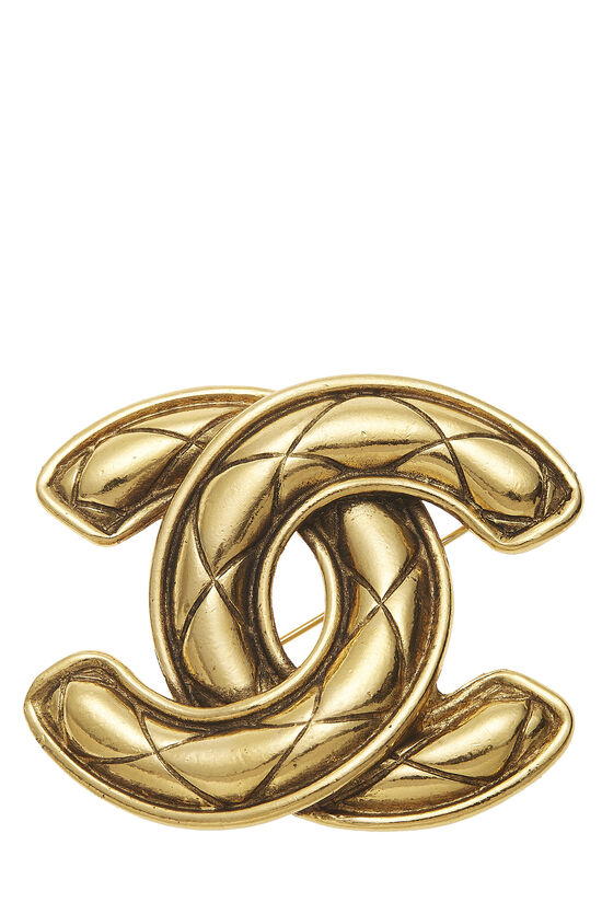 Gold Quilted 'CC' Pin Large, , large image number 0