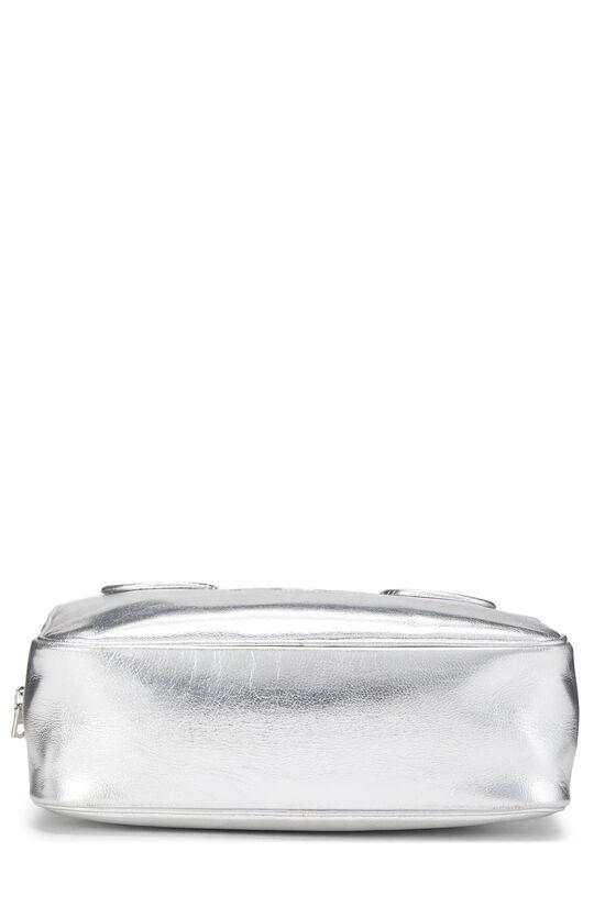 Metallic Silver Leather Logo Handbag Small, , large image number 4