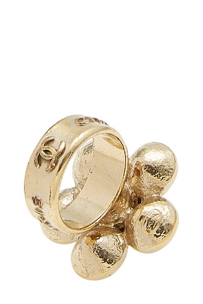 Gold & Crystal CC Flower Ring, , large