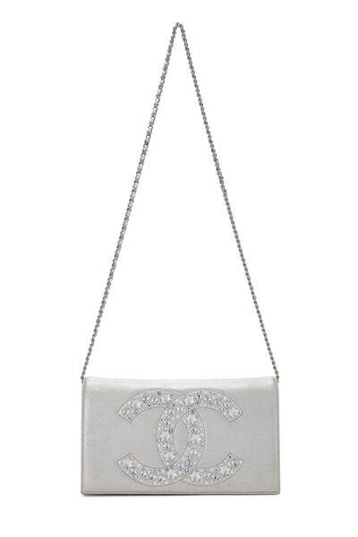 Metallic Silver Crystal 'CC' Full Flap Bag, , large