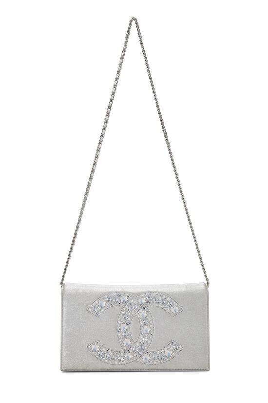Metallic Silver Crystal 'CC' Full Flap Bag, , large image number 1