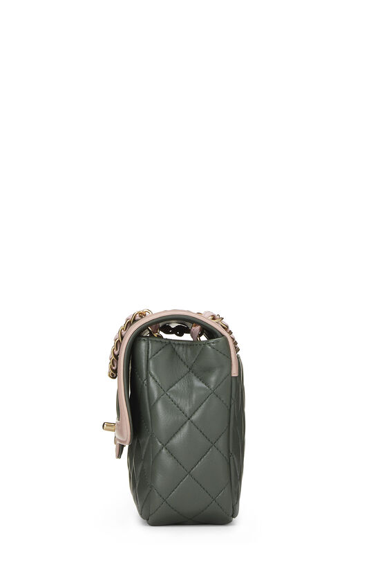 Green & Pink Quilted Lambskin Two Tone Flap Bag Small, , large image number 2