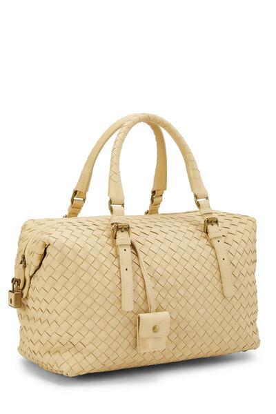Yellow Intrecciato Leather Montaigne Handbag, , large