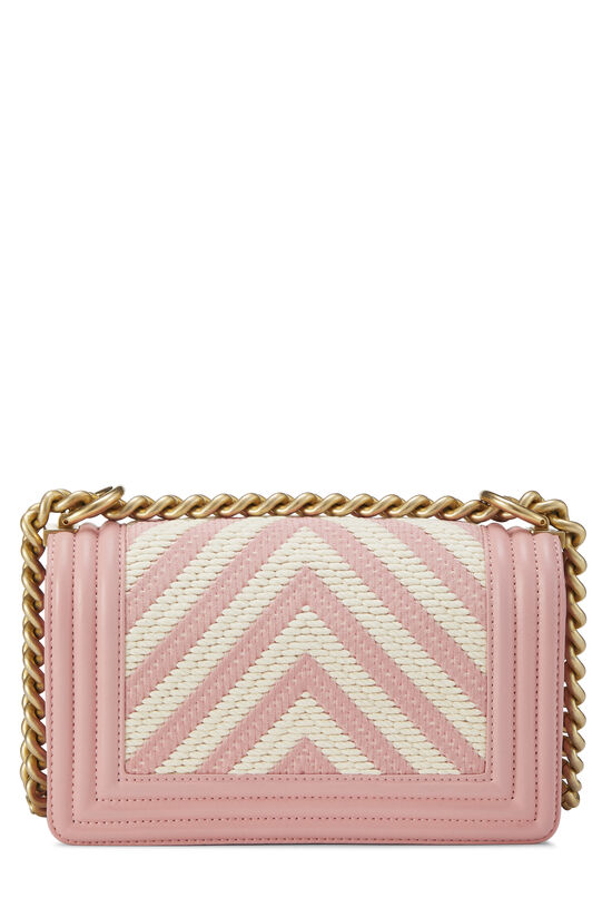 Pink Chevron Lambskin Boy Bag Small, , large image number 4
