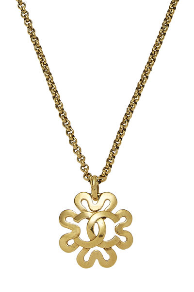 Gold 'CC' Curved Border Necklace, , large