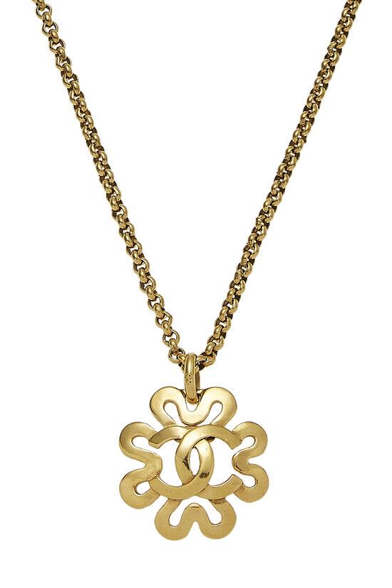 Gold 'CC' Curved Border Necklace, , large image number 1