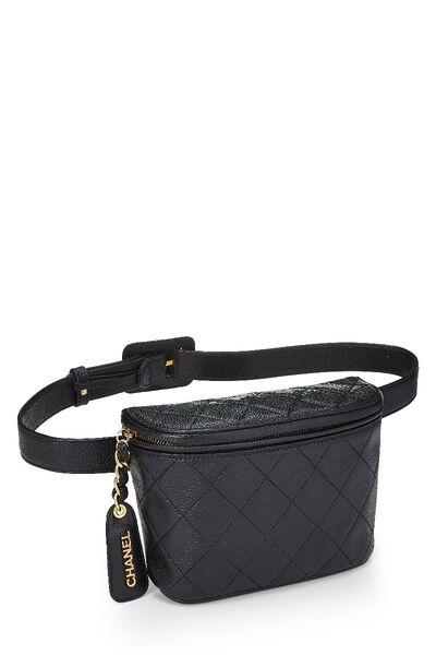 Black Quilted Caviar Belt Bag, , large